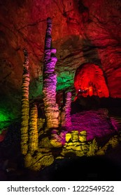Colorful stalactite and stalagmite in the Huanglong Cave in Zhangjiajie