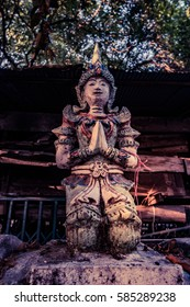 Colorful Statue in Buddhist temple Chiang Mai, Thailand