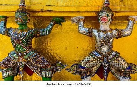 Colorful Statues, Grand Palace, Bangkok, Thailand