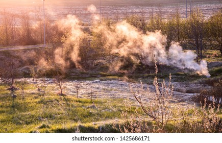 Colorful steam in Icelandic countryside