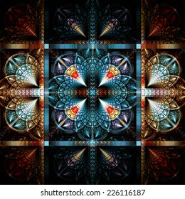 Colorful steel artistic pattern. Gothic beautiful background on black. Fractal art