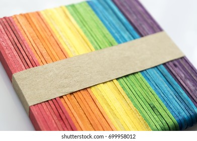 Colorful stick background and texture. Depth of field (DOF) effect.