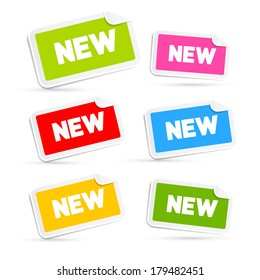 Colorful Stickers with New Title Isolated on White Background