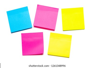 Colorful sticky notes isolated on white background