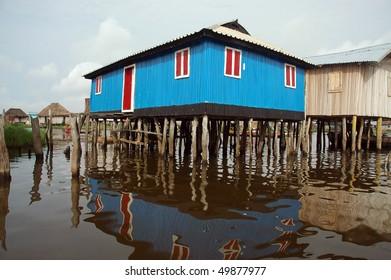 Colorful stilt house of Ganvie in Benin