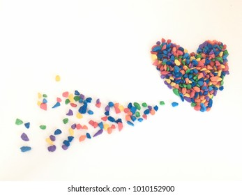 colorful stone in heart shape