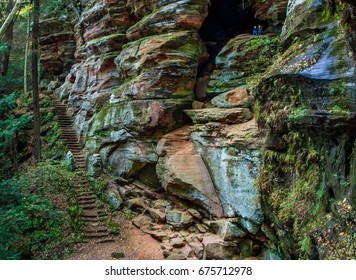 The Colorful And Strangely Eroded Facade of the Rock House, A Cave Structure Inside of a Cliff Face in the Hocking Hills Region of Central Ohio, USA