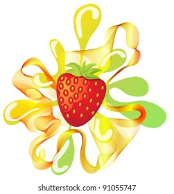 Colorful strawberry background with splash over white