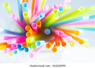 colorful straws macro and soft focus