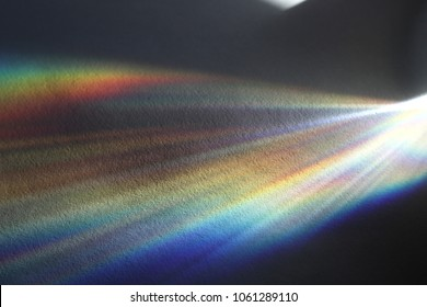 Colorful streaks of light splitted by a vessel filled with water