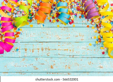 Colorful streamers and confetti as carnival, party, birthday and celebration background.