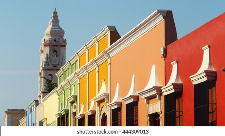 Colorful Street in Campeche Old Town, Mexico