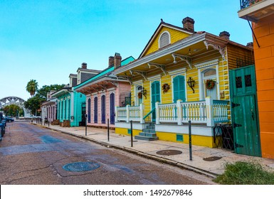 Colorful street in the french quarter, in New Orleans, Louisiana. USA