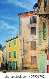 Colorful street and houses in Provence village