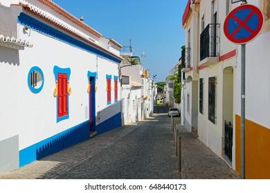 Colorful street in Lagos, Algarve, Portugal