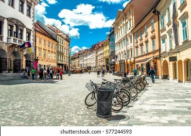 colorful street Ljubljana summer Lubiana buildings clean urban area care