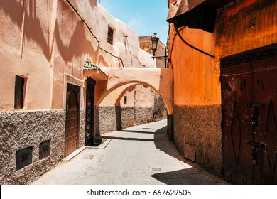 colorful street of marrakech, morocco