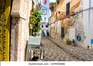 Colorful street in the Medina in Tunis, Tunisia