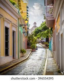 Colorful street in old San Juan, Puerto Rico