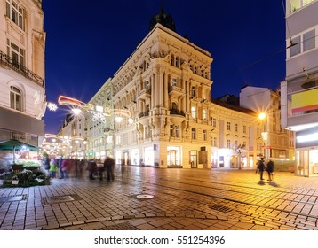Colorful street in old town of Brno, decorated by the christmas lights, Czech Republic,