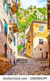 Colorful street in Old town of Kotor on a sunny day, Montenegro