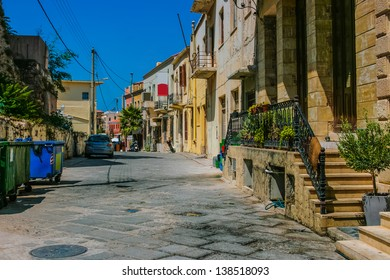 Colorful street and traditional architecture in old part in city of Chania on island of Crete, Greece