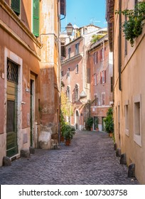 A colorful street in Trastevere in Rome, Italy.