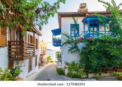 Colorful street view in Kalkan Town of Turkey.