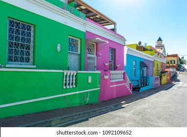 A colorful street view of the Malay quarter of Bo Kaap in Cape Town with its traditional architecture, South Africa.