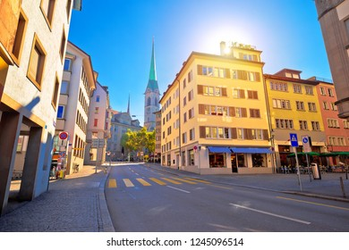 Colorful street of Zurich sun haze view, central Switzerland