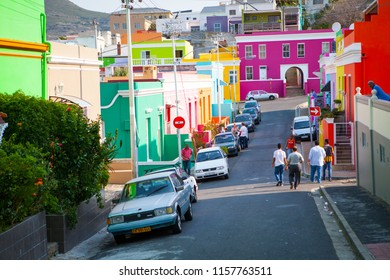 Colorful streets of Bo Kaap District, famous Malay quarter in Capetown, South Africa. September, 2016.