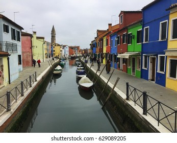 Colorful streets in Burano Island
