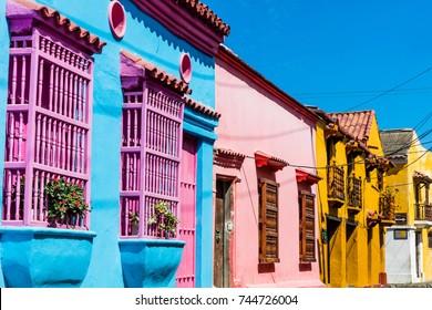 Colorful streets of Getsemaniaera of Cartagena de los indias Bolivar in Colombia South America