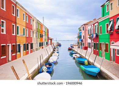Colorful streets on the Burano island, Venice, Italy