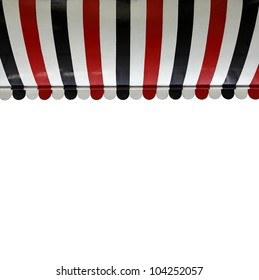 A colorful stripe canopy awning isolated against white.