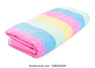 Colorful striped beach towel isolated on a white background