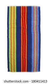 colorful striped beach towel on white