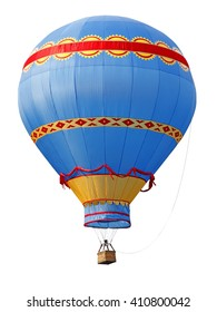A colorful striped old-fashioned hot air balloon isolated against white.