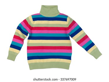 Colorful striped sweater with a high collar. Isolate on white.