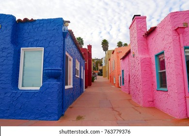 Colorful stucco houses, Capitola Beach, CA.
