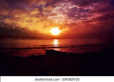 Colorful stunning sunset at Haleiwa Beach Park in Haleiwa town, the Northshore Oahu Island, Hawaii USA