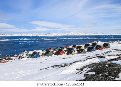 Colorful suburb of Nuuk - the capital of Greenland