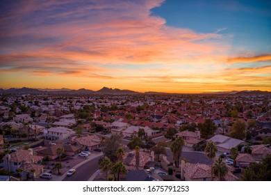 Colorful suburban sunset over Phoenix, AZ