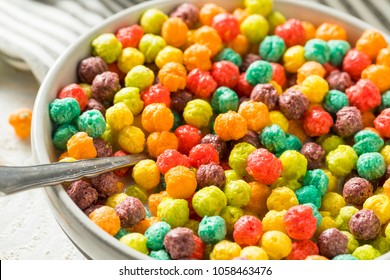 Colorful Sugar Breakfast Cereal with Milk and Toast