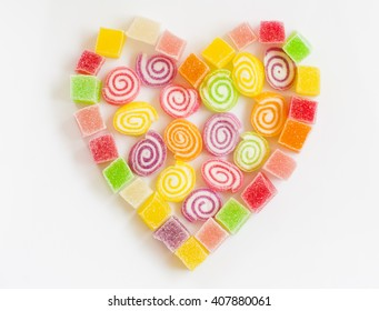 Colorful sugar jelly candy  / heart