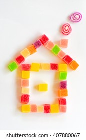 Colorful sugar jelly candy / house