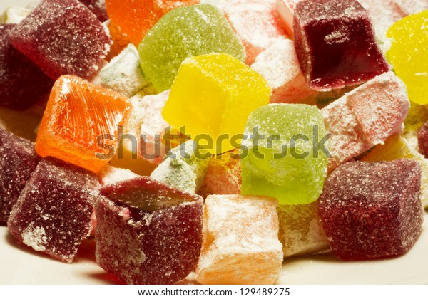 Colorful sugar jelly cubes