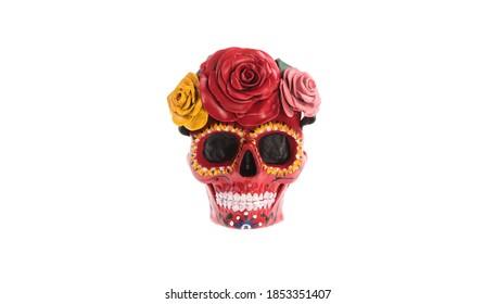 colorful sugar skull isolated on white background