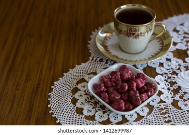 colorful sugars and candies in the plate with coffee for Muslim Ramadan feast.