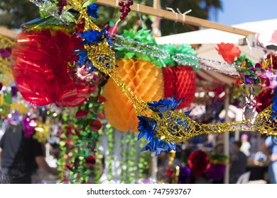 Colorful sukkah decorations. Sukkot four species festival. Shimmering decorations for party.